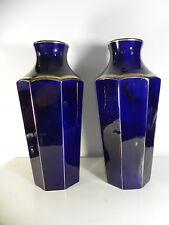 MOULIN DES LOUPS HAMAGE Importante paire de vases art deco bleu et or 42cm