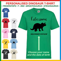 Personalised Name T-Shirt • DINOSAUR BIRTHDAY TEE • Children's Fun Dino Kids