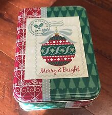 Merry And Bright Holiday Tin 5 X  3 1/2 Inches