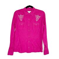 Panhandle Slim Small Shirt Hot Pink Long Sleeve Snap Button Front Top Western