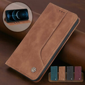For iPhone 12 11 Pro Max XS X XR 7 8 6s Leather Wallet Case Magnetic Flip Cover