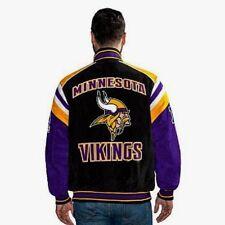 NEW Minnesota Vikings NFL GIII Suede Leather Jacket Men's Size L Kirk Cousins