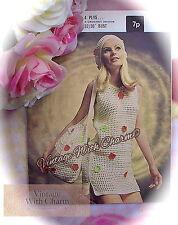 Vintage Crochet Pattern Lady's Beach Dress, Beret & Bag JUST £2.99, FREE UK P&P