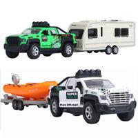 Trailer Tow Pickup Truck w/ Camper Van Kayak 1:36 Scale Car Model Diecast Toy