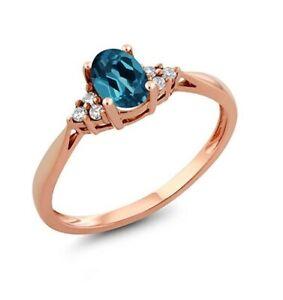 14k RoseGold London Blue Topaz Women Wedding Engagement Bridal Promise Love Ring