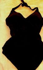 Jantzen $92 NWT 22W Swimsuit Black V Neck Halter Faux Wrap Front High Back