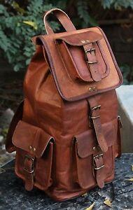 Men's Brown Vintage Back pack Shoulder 1-in-2 Messenger Bag Sling Rucksack Bag