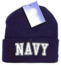 US NAVY Military Cuff Beanie Skull Cap Hat United States U.S. Winter Caps NWT