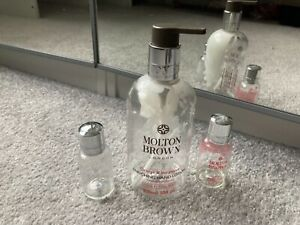 USED MOLTON BROWN EMPTY BOTTLES 300ml HAND LOTION 2 x 30ml SHAMPOO BODY WASH