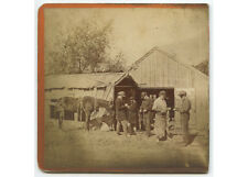 OCCUPATIONAL MEN AT BARN WITH HORSE VINTAGE PHOTO LAKE MAHOPAC, N.Y.