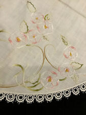 "Linen 32"" Round Tablecloth With Beautiful Embroidered Flowers Lacy Trim"
