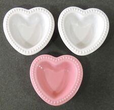 3 Chantal 1 Cup Stoneware 1 Pink 2 White Hobnail Edge Heart Shape Ramekins New