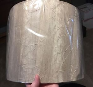 """Drum Lamp Shade Fabric Crinkled Satin Champagne Color 12""""d X 12""""h"""