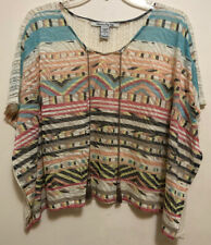 American Rag Cie Women's Colorful Batwing Tassel Tie Lace Crop Top Size S NEW!!