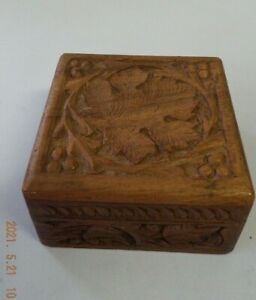 Made In India wooden carved decorative leaf square box with hinged lid