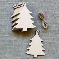 10Pcs Wooden Christmas Chip Tree Ornaments Xmas Hanging Pendant DIY Decor G6A