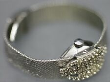 Rare - Lucerne Rhinestone Flip Top Women's Wrist Watch Swiss Wotania Movement