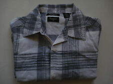Haggar Black/White/Grey Linen Mix S/S Shirt, M, 44 Inch Chest.