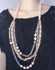 Designer Inspired Necklace Champagnes Golds Pinks Chain Link NEW