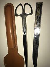 Vintage Letter Opener, Ruler, Scissors Cowhide Solingen Germany. Salesman sample