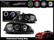 NUOVO COPPIA FARI ANTERIORI LAMPS LPHO07 HONDA CIVIC 1999-2001 ANGEL EYES NERO