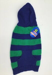 Top Paw Chunky Sweater with Hood Blue Green Stripes Pet Dog NWT