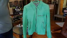 Viridi-Anne Bright Jewel Green Skinny Leather Motorcycle Jacket, Men's Sz. XS/S