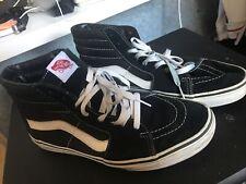 Vans Sk8 Hi Shoes Black White Canvas | UK 9 | Used