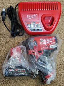 """NEW Milwaukee 2553-20 M12 FUEL 1/4"""" Impact Driver + 4.0Ah Battery Charger Kit"""