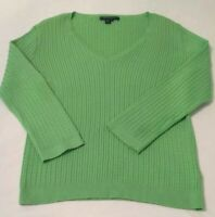 Ralph Lauren Green Woman's Long Sleeve V Neck Ribbed Pullover Top/Sweater Size M