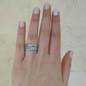 18k White Gold Micro-plated 4-Piece Ring Set with Cubic Zirconia Stackable Rings