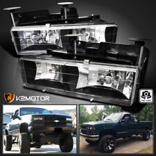88-98 Chevy GMC C10 C/K Truck Headlights Lamps Pair Black (Bulbs Included)