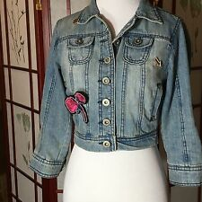 Denim Jacket Jean Patches Urban Street Wear Sequins Kiss Tyler Sz M