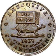 1837 Anti Andrew Jackson Political Hard Times Token Donkey Turtle HT-34 Low 20