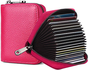 RFID 20 Card Slots Credit Card Holder Genuine Leather Accordion Card Case Small