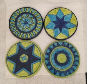 Vintage Pier 1 Imports Ceramic Stoneware Round Coasters Blue Lime Green Boho Vtg