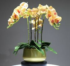 Orchid Flower Arrangement Real Touch Faux Office Decoration Centerpiece White
