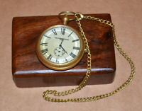 Antique vintage maritime brass pocket watch royal navy with wooden box good gift