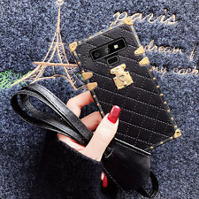 Samsuang Note9 8 S9 S8 Fashion Leopard Leather Grid Square Shockproof Case Cover