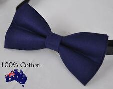 Men Women 100% Cotton Junior Navy Blue Solid Craft Bow Tie Bowtie Wedding Party