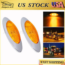 "2pcs 6.5"" Amber Chrome 16 LED Side Marker Lights for Freightliner Truck Trailer"