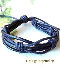 Men Trendy Leather Hemp Multi Color Fashion Surfer Charaters Bracelet Wristband