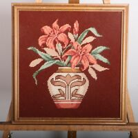 Pink Flowers In Vase Needlepoint Framed Wall Hanging Picture Embroidery Vintage