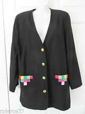 SIMON CHANG Vintage Rayon Black Jacket Blazer Color Accent on Pockets Sz 12 EUC