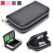 Double Zip Wallet Bag ID Card Flip Leather Case Cover For Motorola Various phone