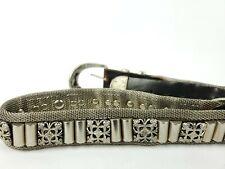 Vintage Mens Silver Metal Belt Buckle Black Leather Fit Size 85/34 Unbranded