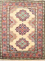 Geometric Beige Hand-Knotted Super Kazak Area Rug Oriental Wool Foyer Carpet 2x3