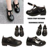 Girls School Shoes Buckle Brogue T Bar Touch Strap Infants Kids Children Shoes