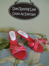 COACH LANDIS md ITALY RED PATENT LEATHER STRAPY BUCKLE SLIDES HEELS SZ 7.5