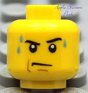 NEW Lego City Male MINIFIG HEAD Boy w/Sweat & Grin -Dino/Kingdoms/Pirates/Castle